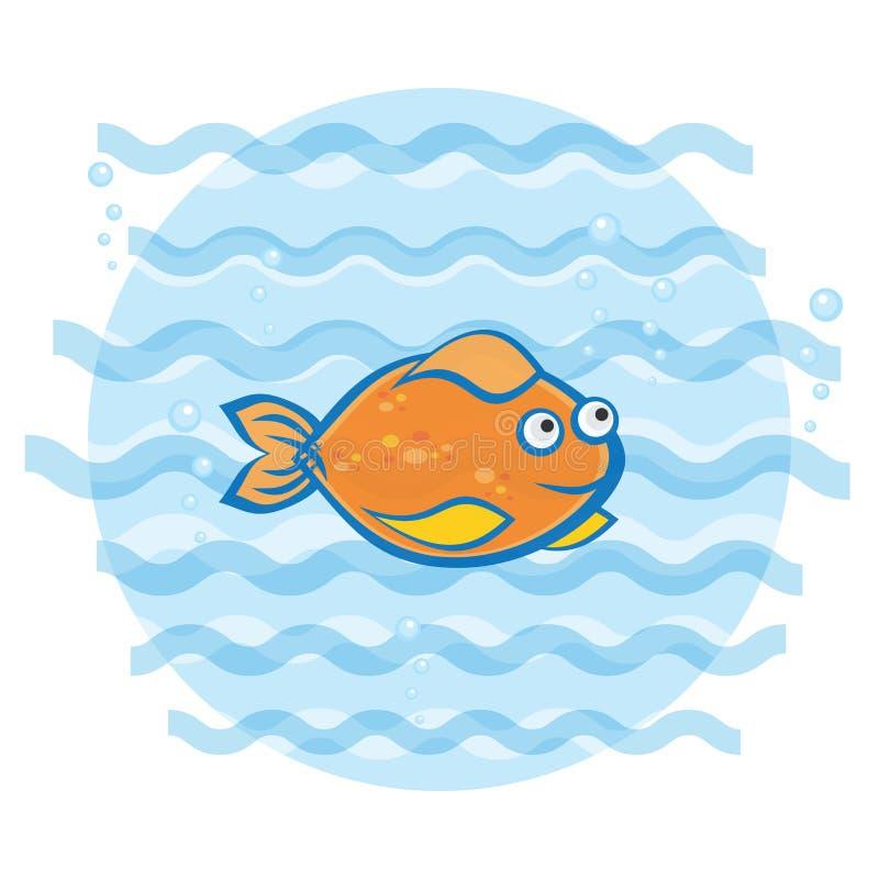 Λίγο goldfish που κολυμπά κάτω από το νερό Τυπωμένη ύλη για τον ιματισμό των παιδιών ελεύθερη απεικόνιση δικαιώματος