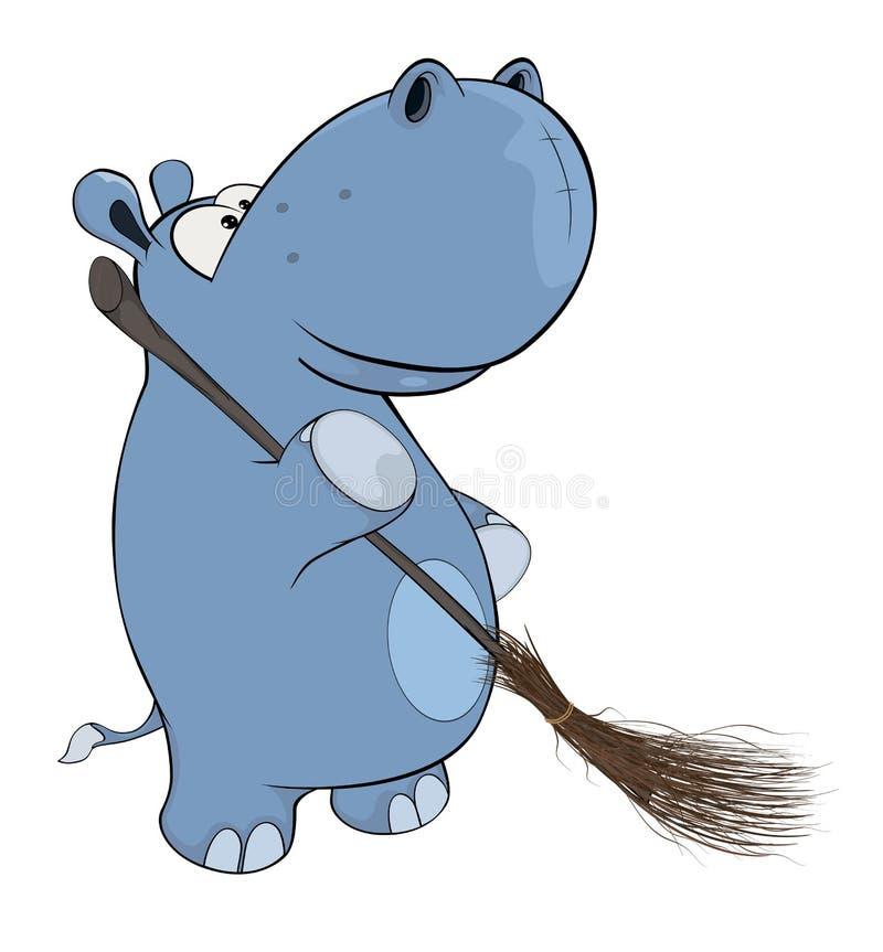 Λίγο hippopotamus cartoon ελεύθερη απεικόνιση δικαιώματος