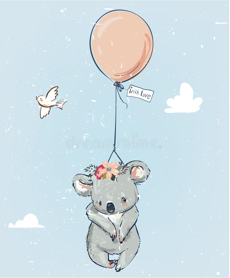 Λίγο koala με το μπαλόνι διανυσματική απεικόνιση