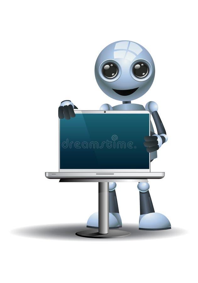 Λίγο lap-top εκμετάλλευσης πωλητών επιχειρηματιών ρομπότ ελεύθερη απεικόνιση δικαιώματος