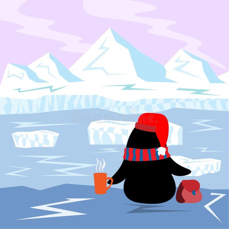 Λίγο Penguin με την καυτή συνεδρίαση τσαγιού στην άκρη και εξετάζει τον παρασύροντα επιπλέον πάγο πάγου στην Αρκτική διανυσματική απεικόνιση