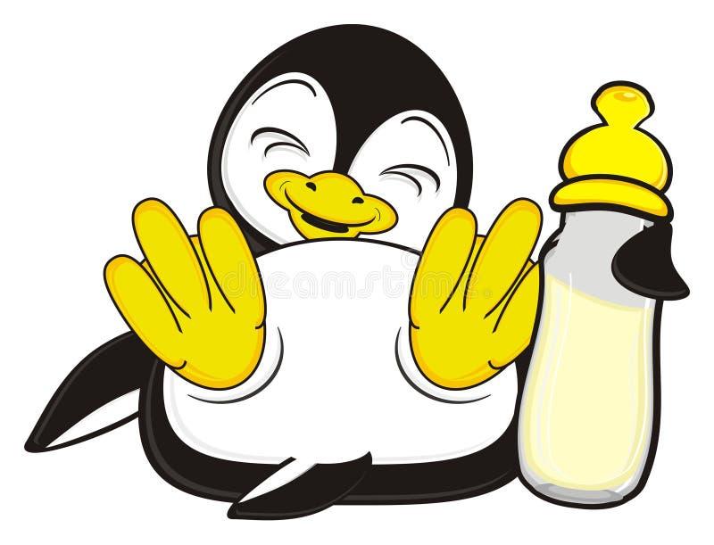 Λίγο penguin με το μπουκάλι του γάλακτος ελεύθερη απεικόνιση δικαιώματος