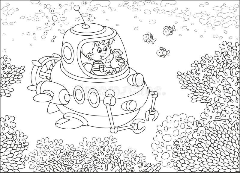 Λίγο submariner σε έναν σκόπελο ελεύθερη απεικόνιση δικαιώματος