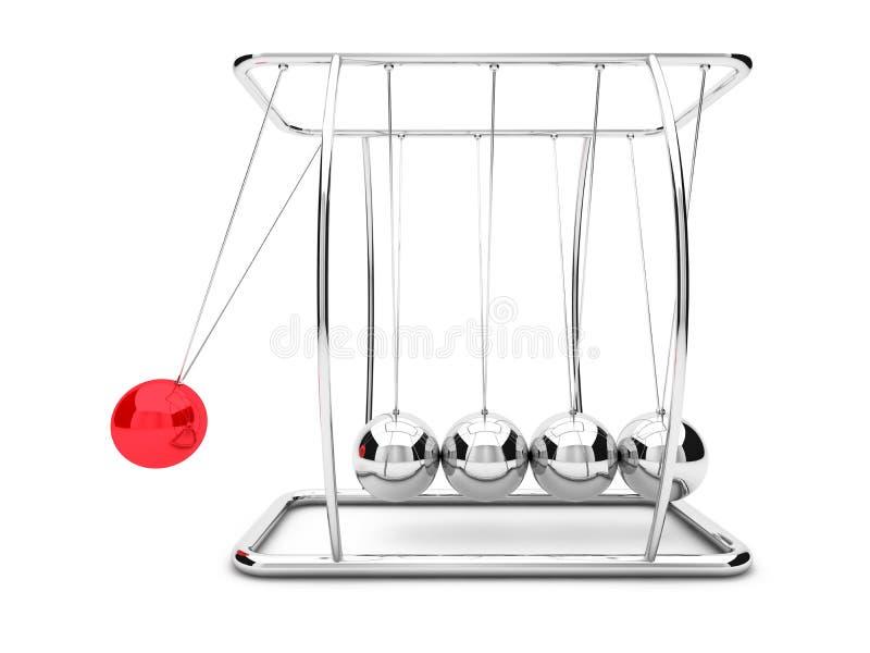 Λίκνο Newtons με μια αυξημένη κόκκινη σφαίρα τρισδιάστατος διανυσματική απεικόνιση