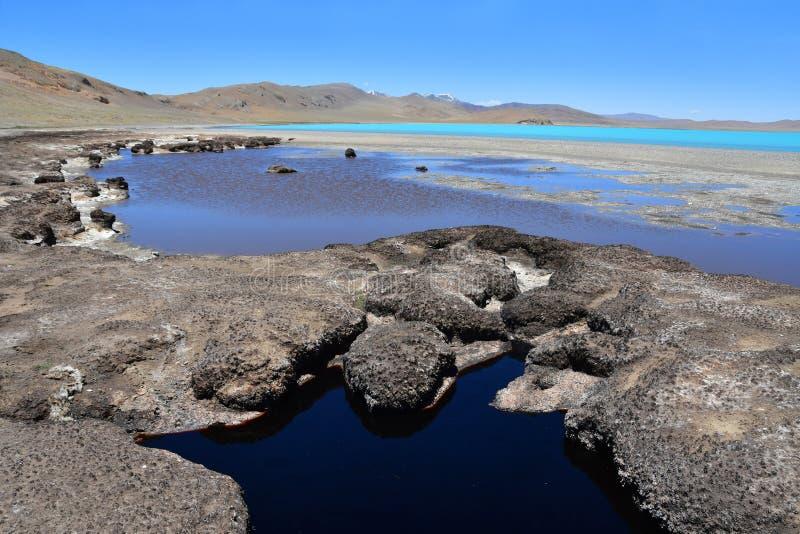 Λίμνες του Θιβέτ Λίμνη του κοβαλτίου του Sam το καλοκαίρι στο σαφή καιρό στοκ φωτογραφία με δικαίωμα ελεύθερης χρήσης