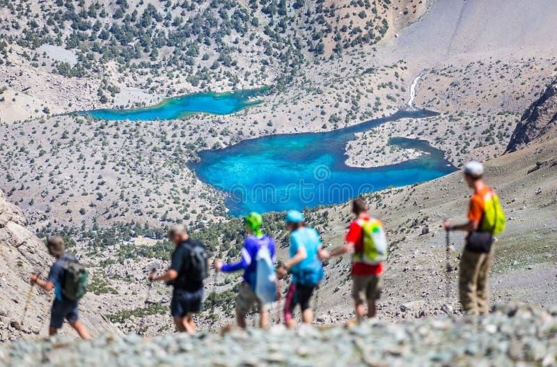 Λίμνες Alouddin, βουνά Fann, τουρισμός, Τατζικιστάν στοκ εικόνες