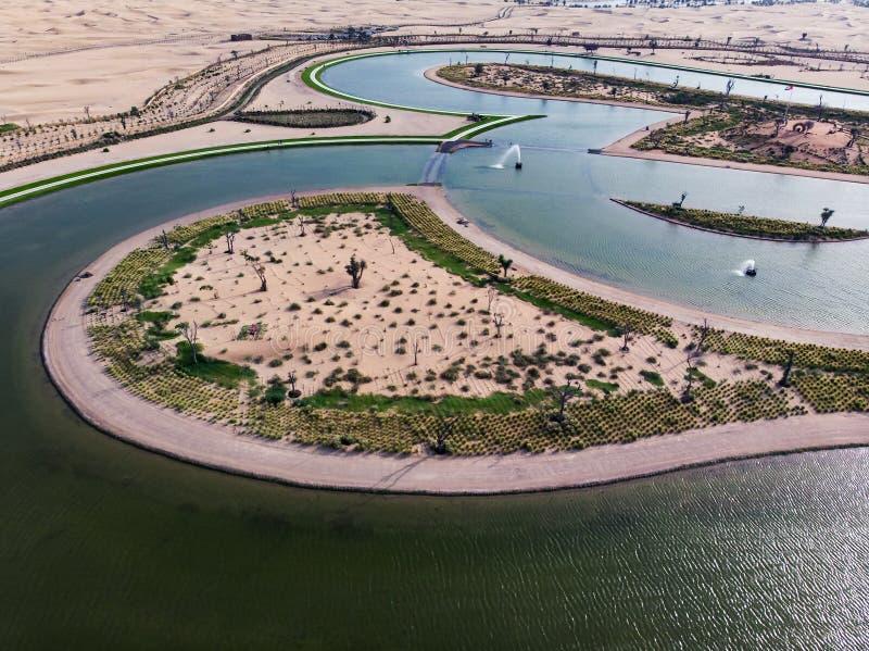 Λίμνη αγάπης μορφής καρδιών κατά την εναέρια άποψη ερήμων του Ντουμπάι στοκ εικόνες