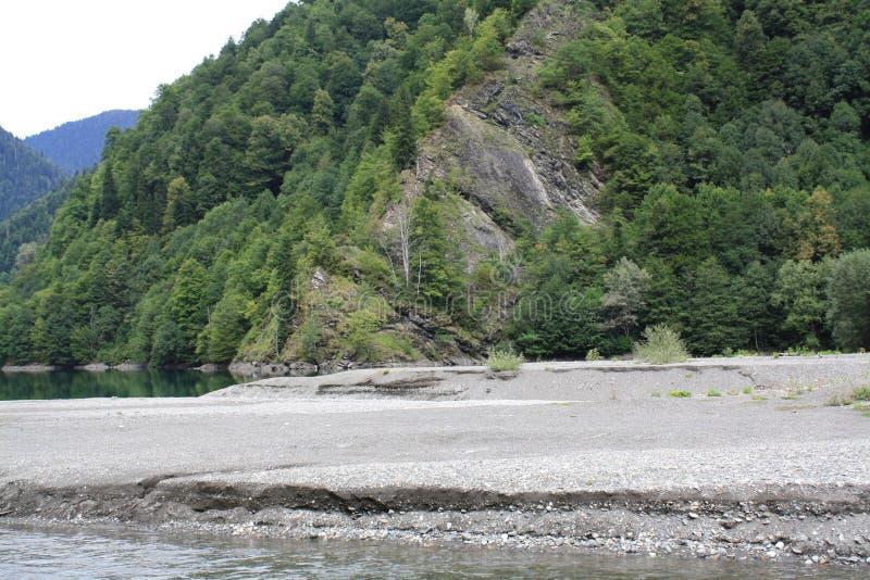 Λίμνη βουνών που περιβάλλεται από τα πράσινα δέντρα στοκ εικόνα