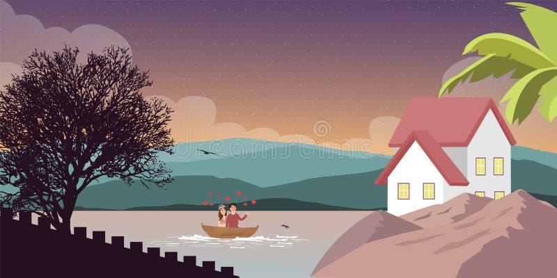 Λίμνη βουνών στη φύση τοπίου με το σπίτι σπιτιών στο δευτερεύον ζεύγος στη βάρκα ελεύθερη απεικόνιση δικαιώματος