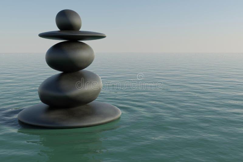 Λίμνη βράχου της Zen διανυσματική απεικόνιση