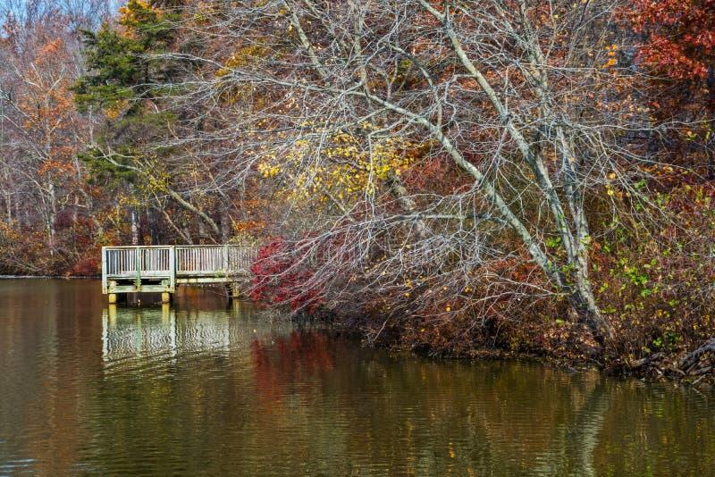 Λίμνη και αποβάθρα φθινοπώρου στοκ εικόνα