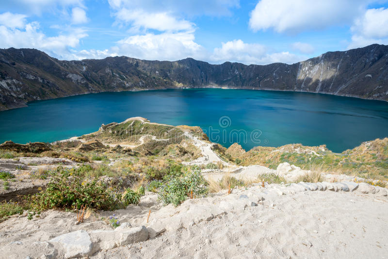 Λίμνη κρατήρων Quilotoa, Ισημερινός στοκ εικόνες