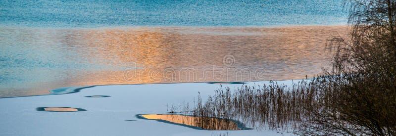 Λίμνη στο πανόραμα ηλιοβασιλέματος στοκ εικόνα