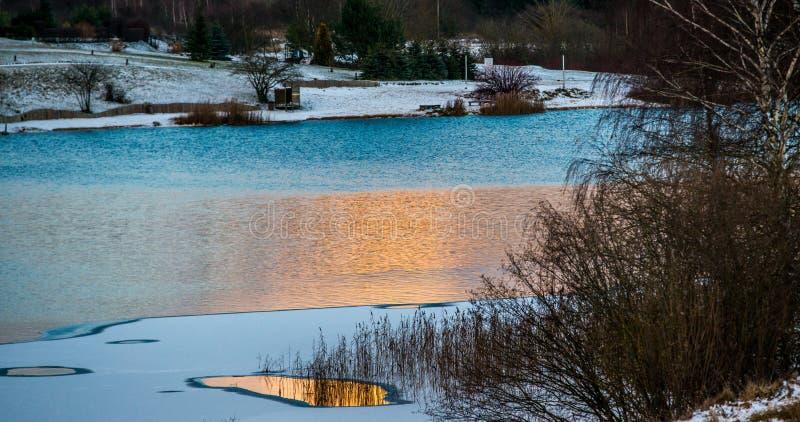 Λίμνη στο πανόραμα ηλιοβασιλέματος στοκ φωτογραφίες