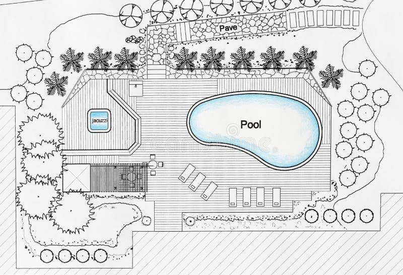 Λίμνη σχεδίων αρχιτεκτόνων τοπίου για τη βίλα πολυτέλειας στοκ εικόνα με δικαίωμα ελεύθερης χρήσης