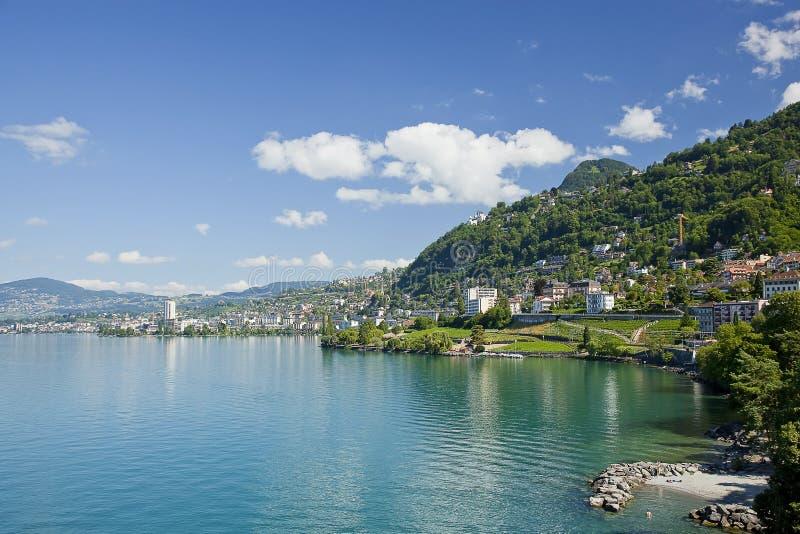 λίμνη της Γενεύης montreux στοκ εικόνα με δικαίωμα ελεύθερης χρήσης