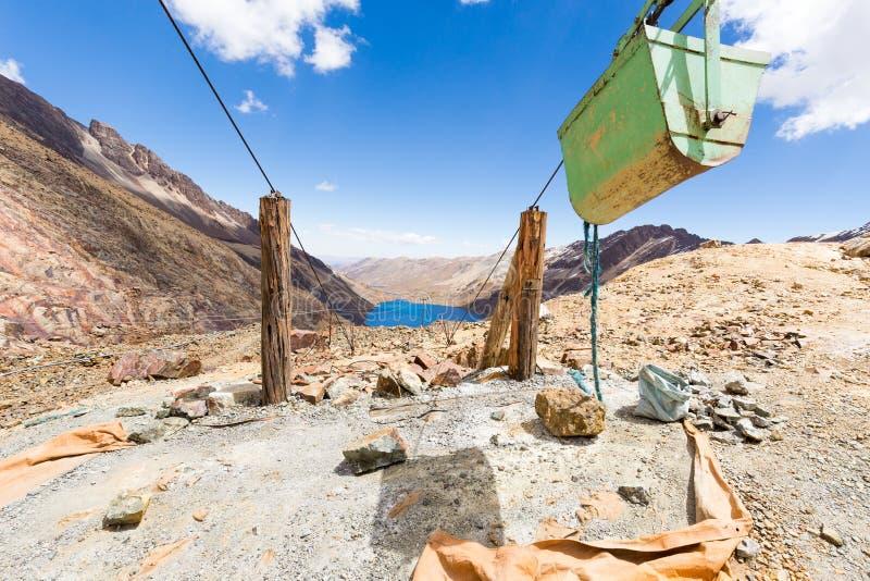 Λίμνη φορτηγών μεταφορών βουνών καροτσακιών καλωδίων ορυχείου, βιομηχανία της Βολιβίας στοκ φωτογραφία με δικαίωμα ελεύθερης χρήσης