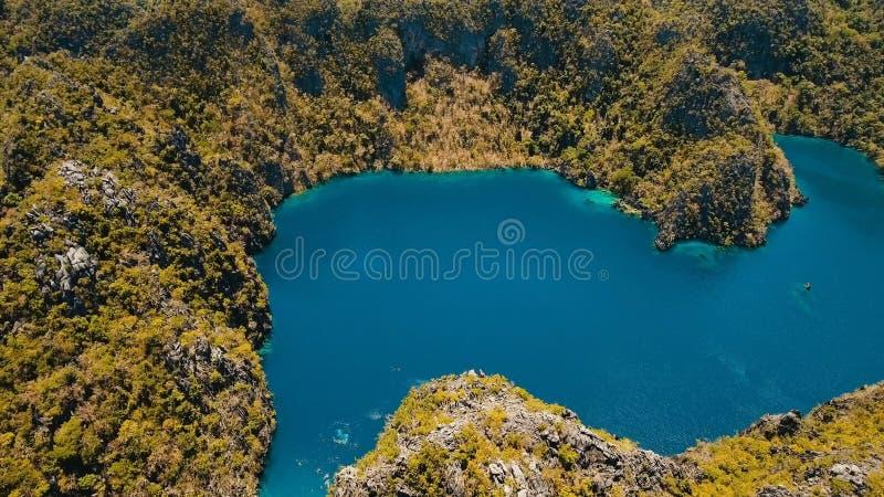 Λίμνη Barracuda σε ένα τροπικό νησί, Φιλιππίνες, Coron, Palawan βουνών στοκ φωτογραφία