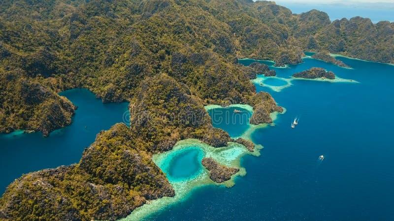 Λίμνη Barracuda σε ένα τροπικό νησί, Φιλιππίνες, Coron, Palawan βουνών στοκ εικόνα