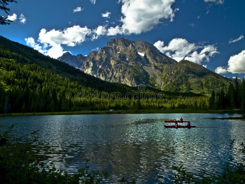 λίμνη kayakers teton στοκ φωτογραφίες