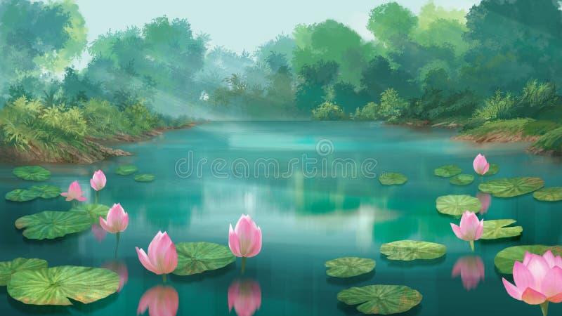 Λίμνη Lotus διανυσματική απεικόνιση