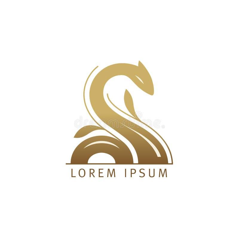 Λίμνη ness, λογότυπο φιδιών ή δράκων διανυσματική απεικόνιση