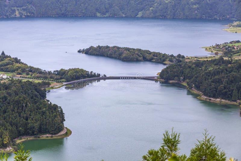 Λίμνη Sete Cidades στο νησί του Miguel Σάο, Αζόρες, Πορτογαλία στοκ φωτογραφία με δικαίωμα ελεύθερης χρήσης