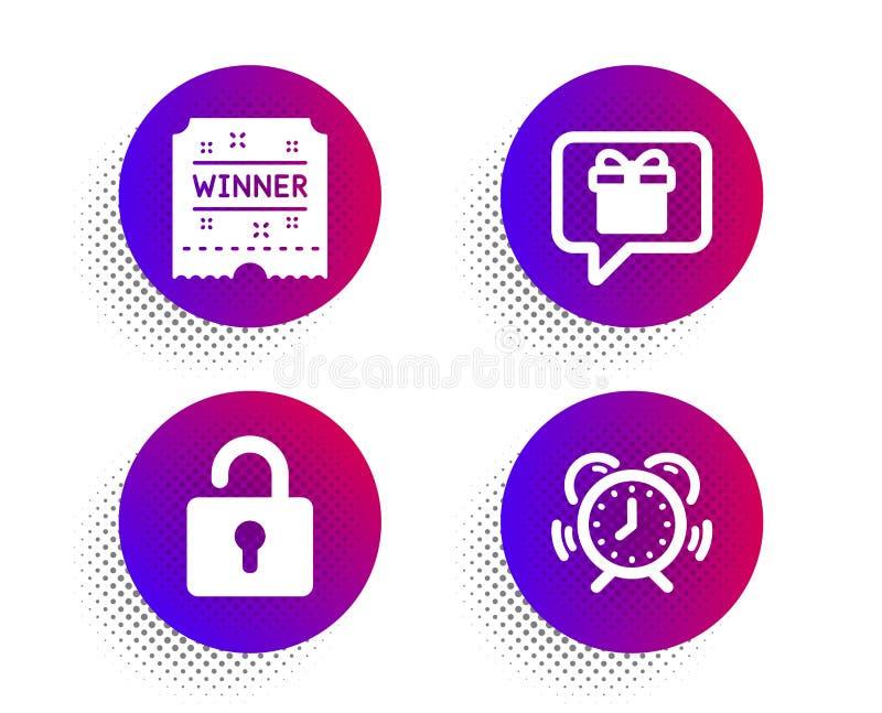 Λίστα επιθυμητών στόχων, εισιτήριο νικητών και εικονίδια κλειδαριών καθορισμένες Σημάδι χρονικής διαχείρισης r ελεύθερη απεικόνιση δικαιώματος