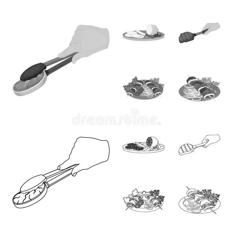 Λαβίδες με την μπριζόλα, το τηγανισμένο κρέας σε μια σέσουλα, το τεμαχίζοντας λεμόνι και τις ελιές, shish kebab σε ένα πιάτο με τ απεικόνιση αποθεμάτων