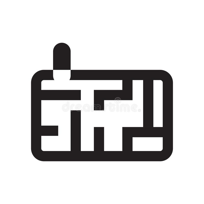 Λαβυρίνθου παιχνιδιών σημάδι και σύμβολο εικονιδίων διανυσματικό που απομονώνονται στο άσπρο υπόβαθρο, έννοια λογότυπων παιχνιδιώ απεικόνιση αποθεμάτων
