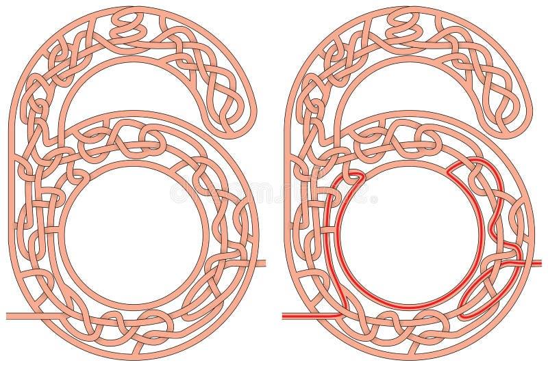 Λαβύρινθος έξι διανυσματική απεικόνιση