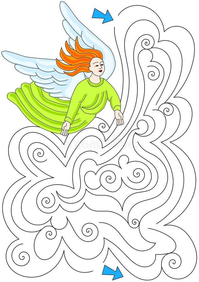 Λαβύρινθος λαβύρινθων σύννεφων αγγέλου διανυσματική απεικόνιση