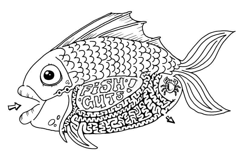 λαβύρινθος εντέρων ψαριών διανυσματική απεικόνιση