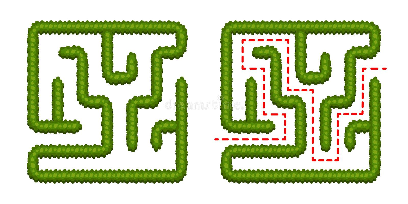 Λαβύρινθος θάμνων παιχνιδιών λογικής εκπαίδευσης για τα παιδιά Βρείτε το σωστό τρόπο Απομονωμένος απλός τετραγωνικός λαβύρινθος σ ελεύθερη απεικόνιση δικαιώματος