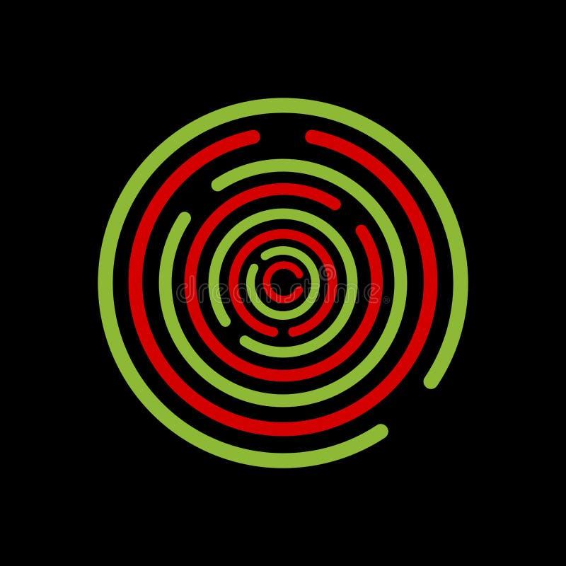 Λαβύρινθος κύκλων ή ζωηρόχρωμος λαβύρινθος στο μαύρο υπόβαθρο απεικόνιση αποθεμάτων