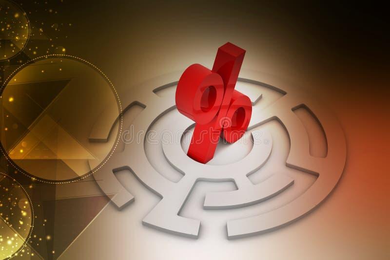 Λαβύρινθος με το σημάδι ποσοστού στο κέντρο ελεύθερη απεικόνιση δικαιώματος