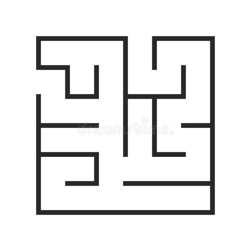 Λαβύρινθος παιχνιδιών λογικής εκπαίδευσης για τα παιδιά Βρείτε το σωστό τρόπο Απομονωμένη απλή τετραγωνική μαύρη γραμμή λαβυρίνθο διανυσματική απεικόνιση