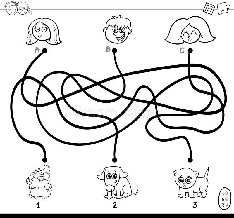 Λαβύρινθος πορειών με τα παιδιά και τα κατοικίδια ζώα που χρωματίζει τη σελίδα διανυσματική απεικόνιση