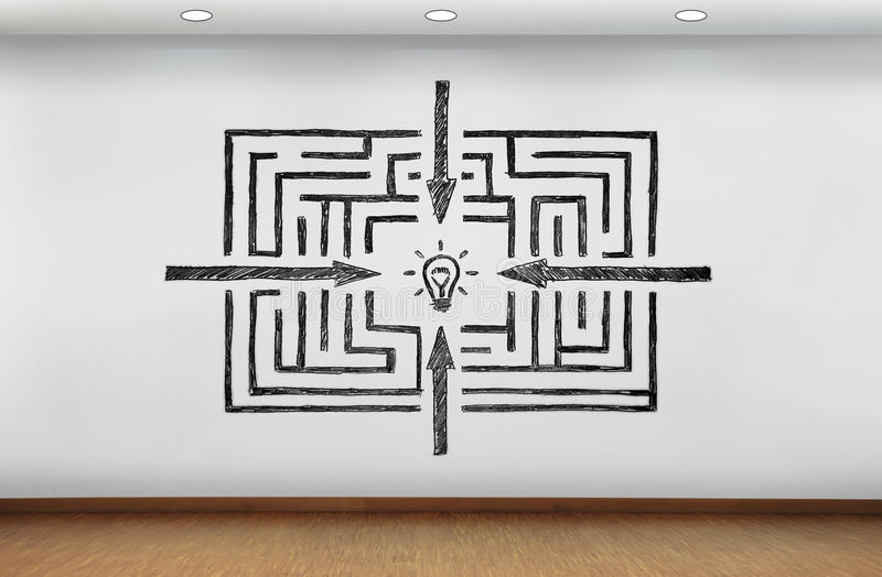 Λαβύρινθος στην επιτυχία που επισύρει την προσοχή στον τοίχο στοκ εικόνα με δικαίωμα ελεύθερης χρήσης
