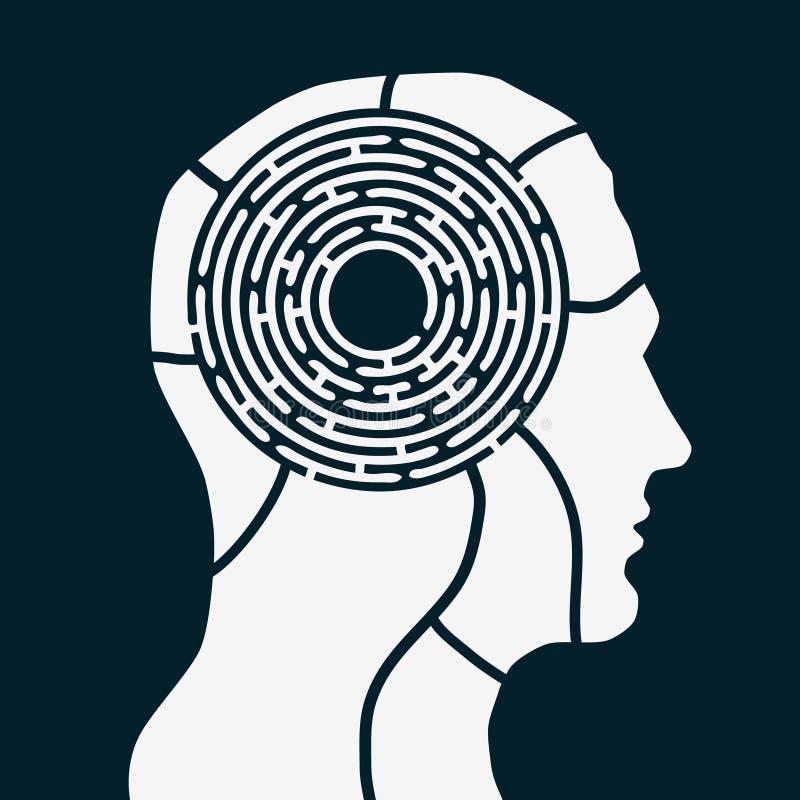 Λαβύρινθος του ανθρώπινου μυαλού απεικόνιση αποθεμάτων