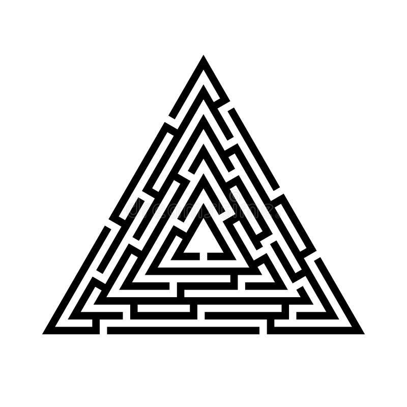 Λαβύρινθος τριγώνων, εικονίδιο λαβύρινθων χρυσή ιδιοκτησία βασικών πλήκτρων επιχειρησιακής έννοιας που φθάνει στον ουρανό ελεύθερη απεικόνιση δικαιώματος
