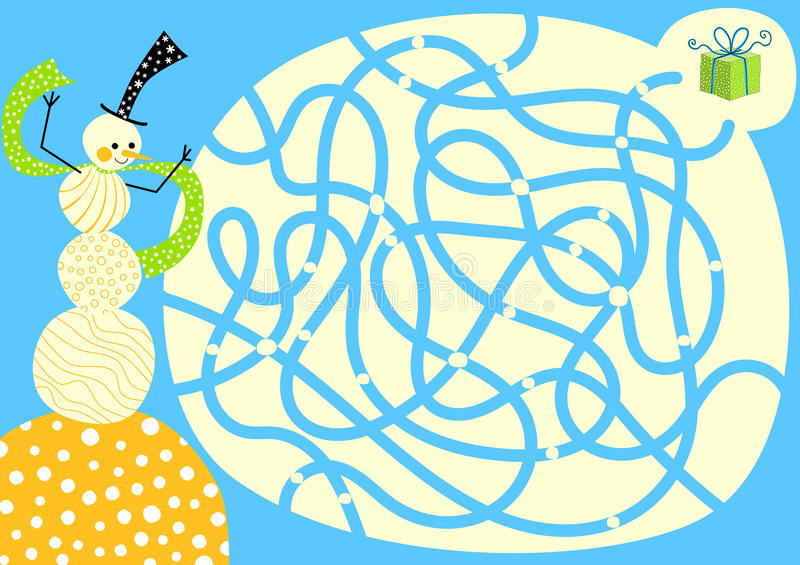 Λαβύρινθος Labirinth δώρων χιονανθρώπων διανυσματική απεικόνιση