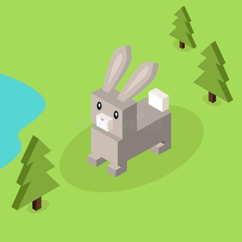 Λαγοί άγριων ζώων, Isometric τρισδιάστατο σχέδιο κουνελιών ελεύθερη απεικόνιση δικαιώματος