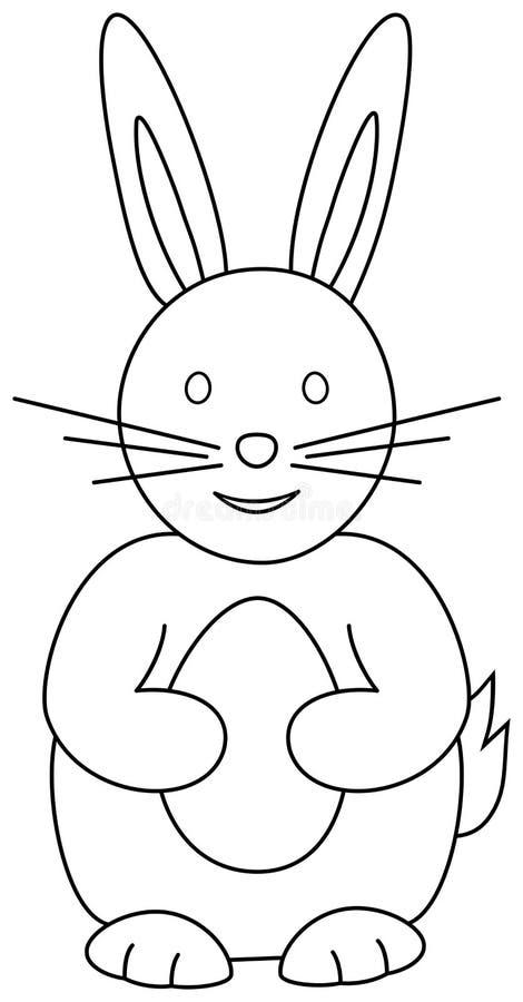 Λαγουδάκι με το αυγό Πάσχας, διάνυσμα περιλήψεων Χρωματίζοντας σελίδα βιβλίων κουνελιών ελεύθερη απεικόνιση δικαιώματος