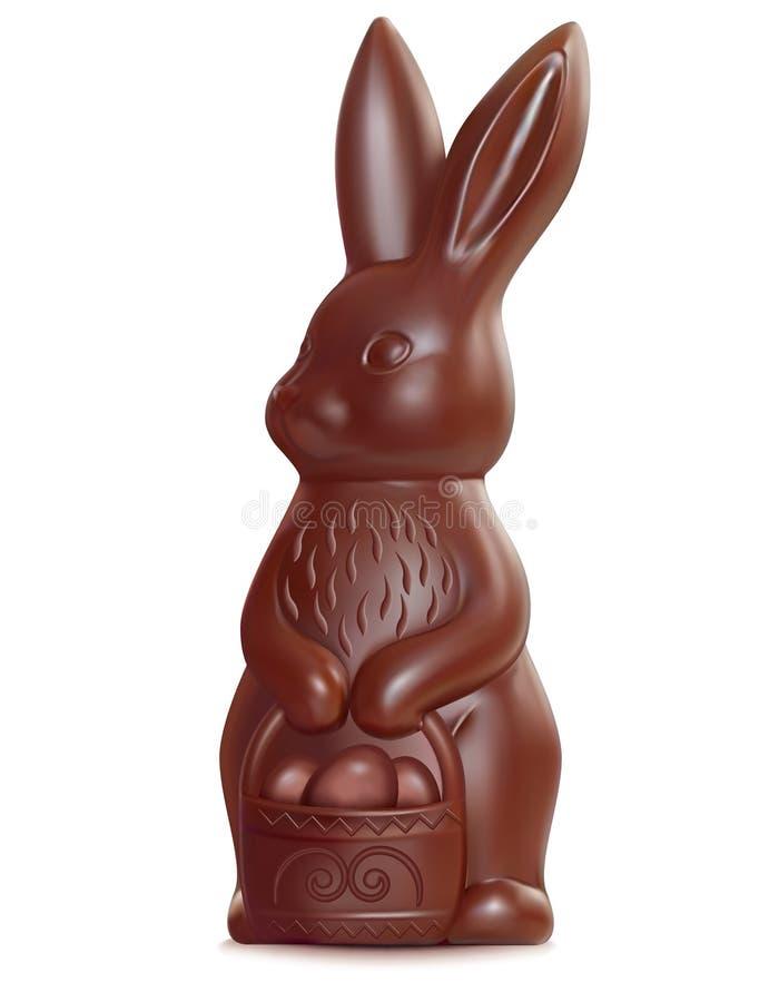 Λαγουδάκι Πάσχας σοκολάτας στο λευκό ελεύθερη απεικόνιση δικαιώματος