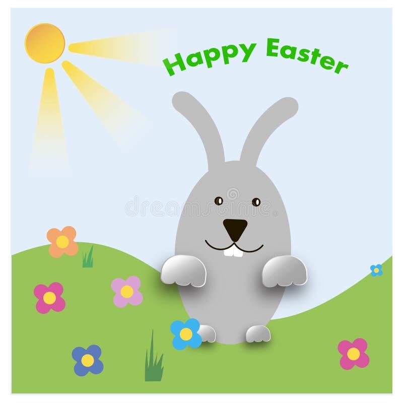 Λαγουδάκι Πάσχας εύθυμο με τα χρωματισμένα αυγά απεικόνιση αποθεμάτων
