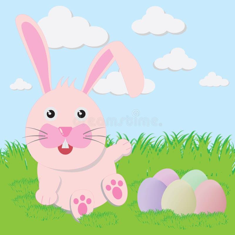 Λαγουδάκι Πάσχας εύθυμο με τα χρωματισμένα αυγά διανυσματική απεικόνιση