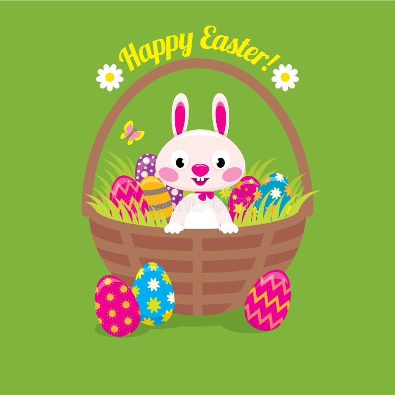 Λαγουδάκι Πάσχας σε ένα καλάθι με τα αυγά Πάσχας σε ένα πράσινο υπόβαθρο ελεύθερη απεικόνιση δικαιώματος
