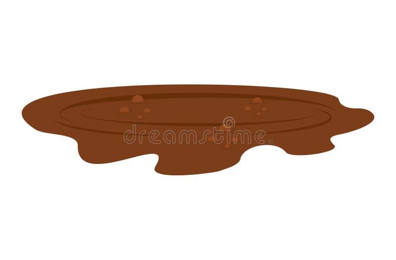 Λακκούβα της λάσπης που απομονώνεται Βρώμικος παφλασμός στο άσπρο υπόβαθρο διανυσματική απεικόνιση