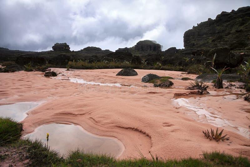 Λακκούβες στη μοναδική ρόδινη άμμο του υποστηρίγματος Roraima στοκ φωτογραφία